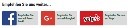 Empfehlungsbuttons Social Media